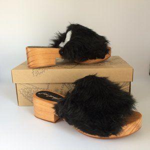Free People Faux Fur Clog Sandal Black 8 NEW